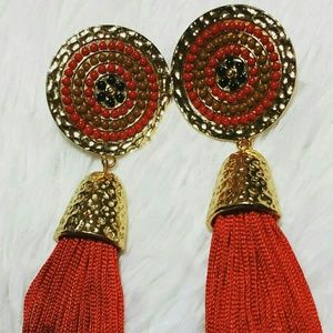 Jewelry - Radial Beauty Tassel Earrings - Red/Khaki